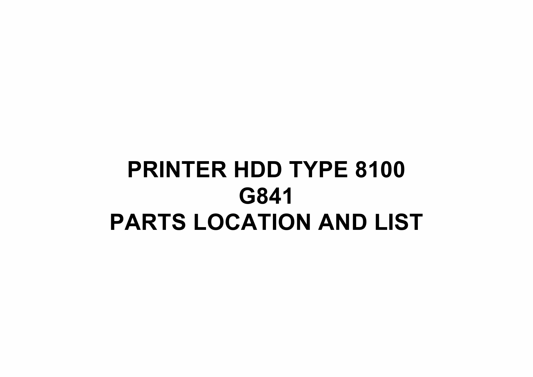 RICOH Options G841 PRINTER-HDD-TYPE-8100 Parts Catalog PDF download-1